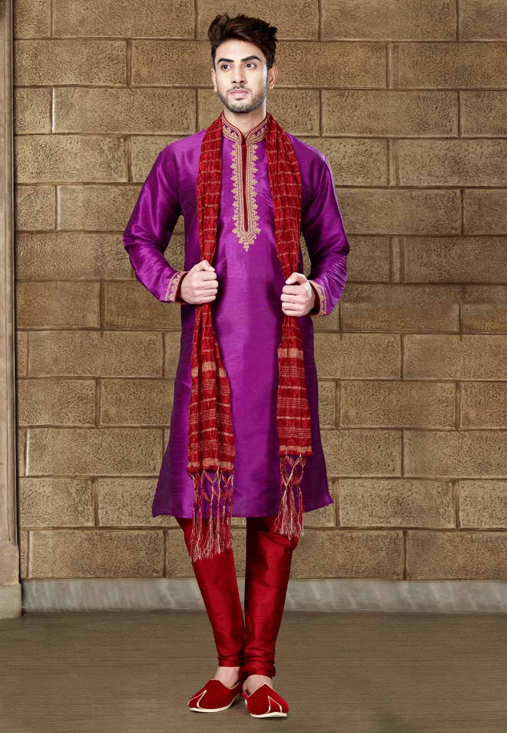 Exquisite Raglan Sleeves Magenta Color Readymade Kurta Pajama.