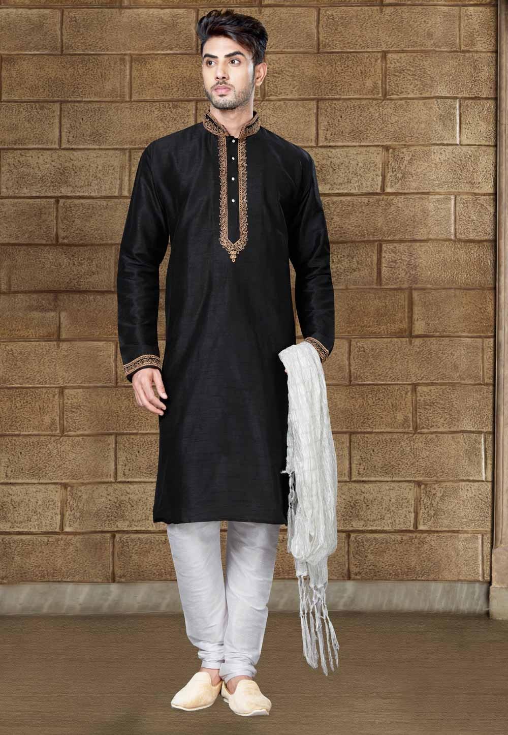 Exquisite Black Color Art Silk Readymade Kurta Pajama For Mens