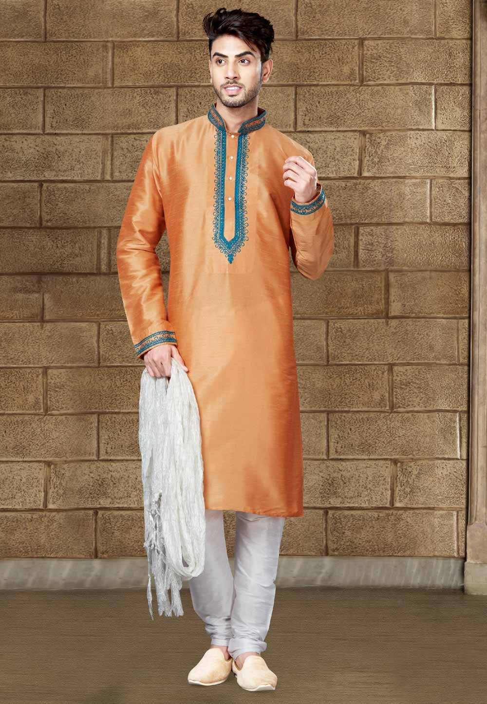Peach Color Art Silk Readymade Kurta Pajama