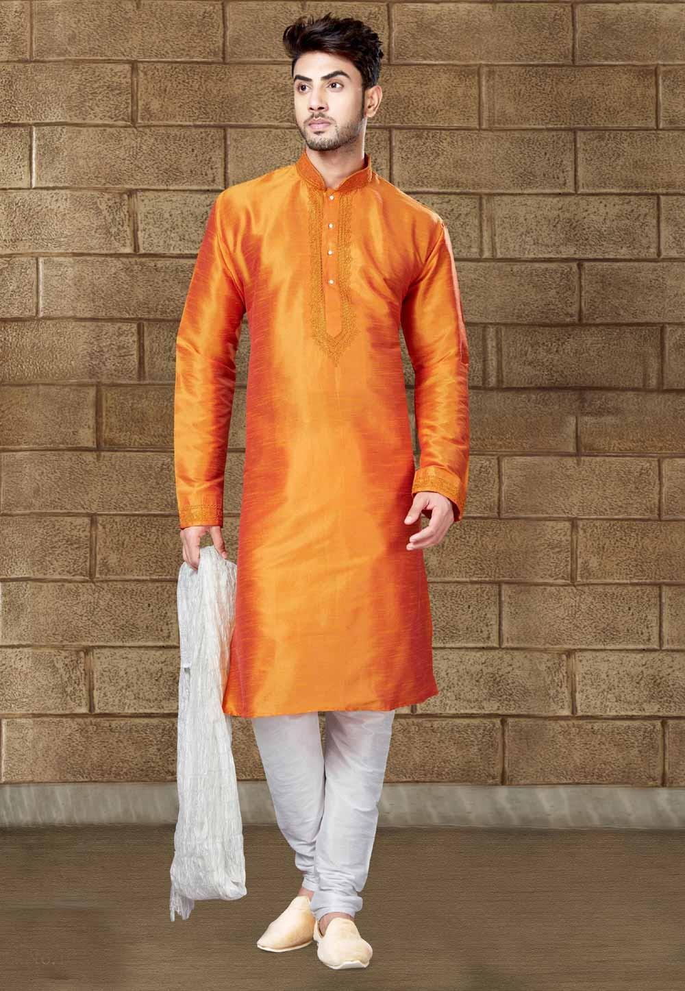 Exquisite Orange Color Readymade Kurta For Mens