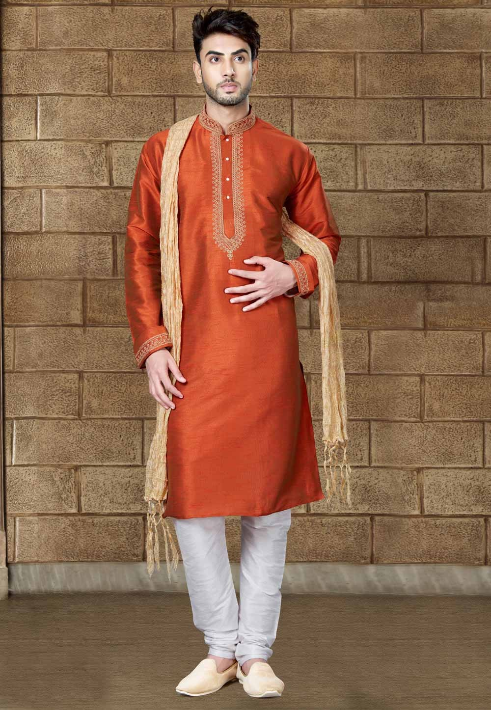 Red Color Art Silk Party Wear Kurta Pajama