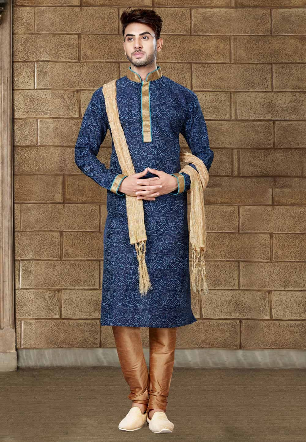Blue Color Art Silk Readymade Kurta Pajama.