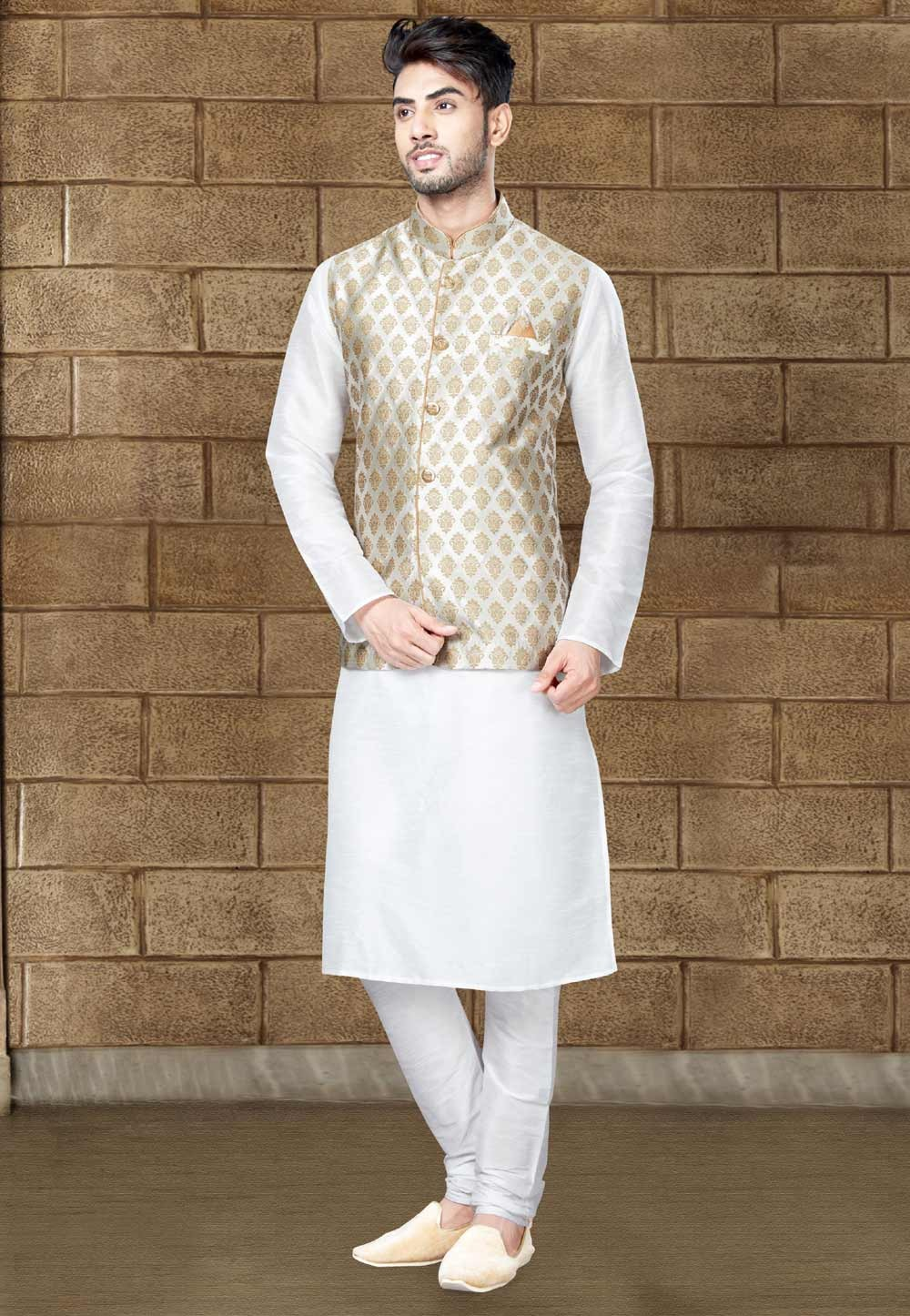 Off White Color Readymade Kurta Pajama With Jacket