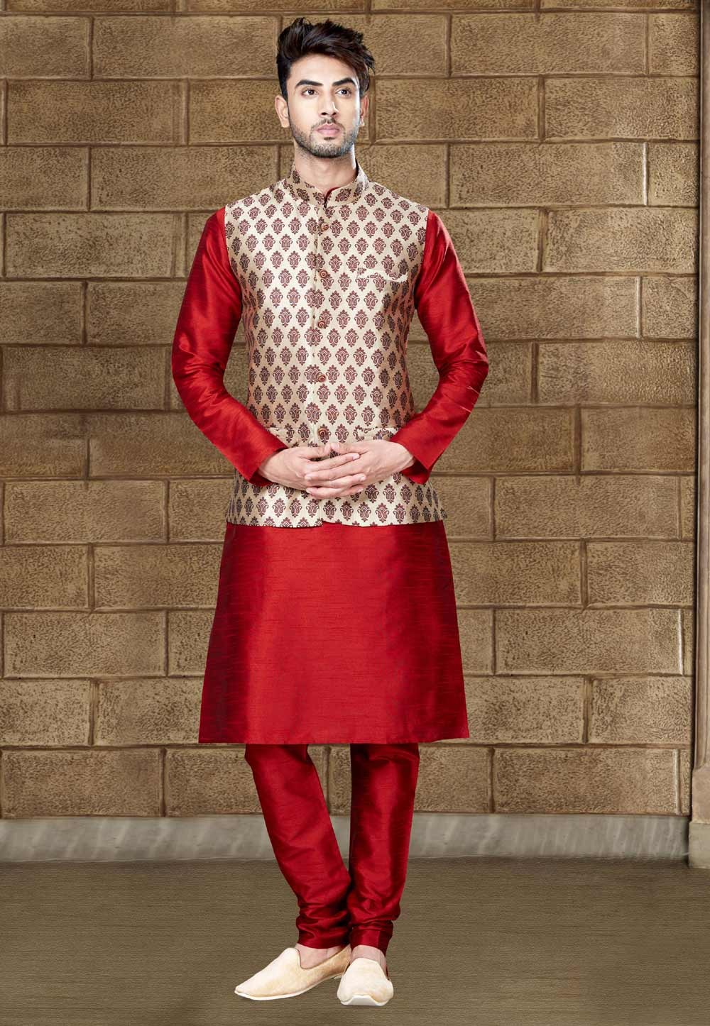 Buy Maroon designer kurta pajama with jacket