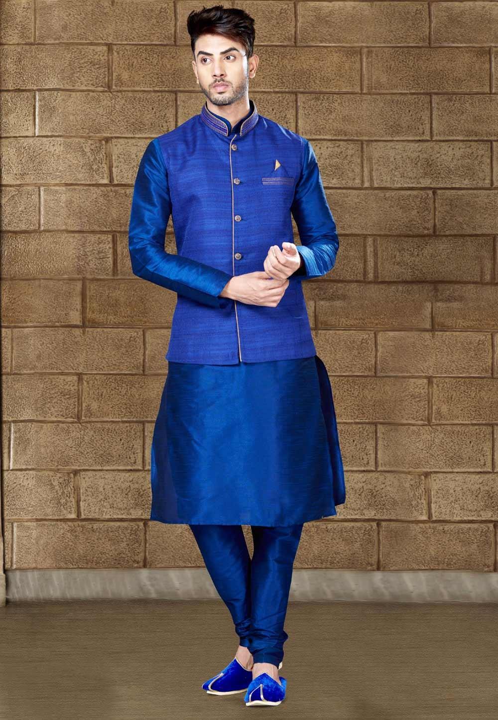 Men's Exquisite Royal Blue Color Kurta Pyjama With Jacket