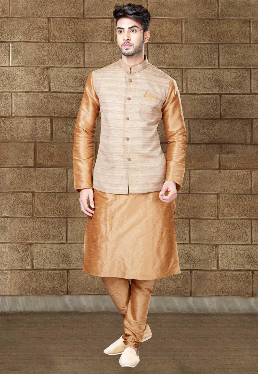 Golden Color Readymade Kurta Pajama With Jacket
