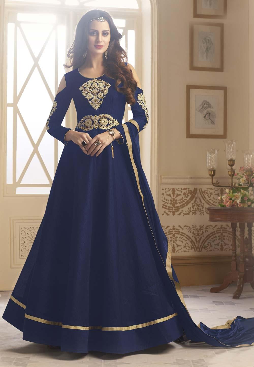Blue Color Silk Fabric Incredible Salwar Kameez in Anarkali Style
