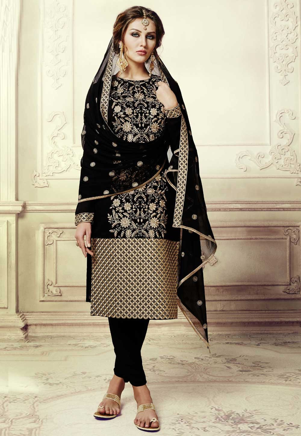 77612e26e Straight Cut Style Incredible Salwar Kameez in Black Color   Art Silk Fabric