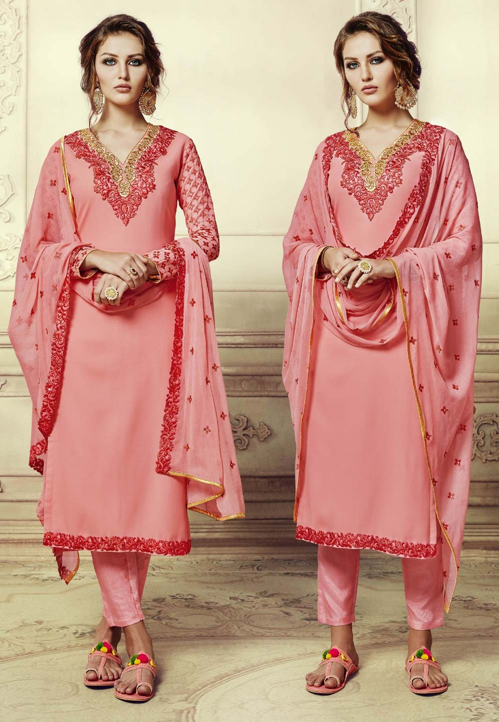 Beautiful Salwar Kameez in Peach Color