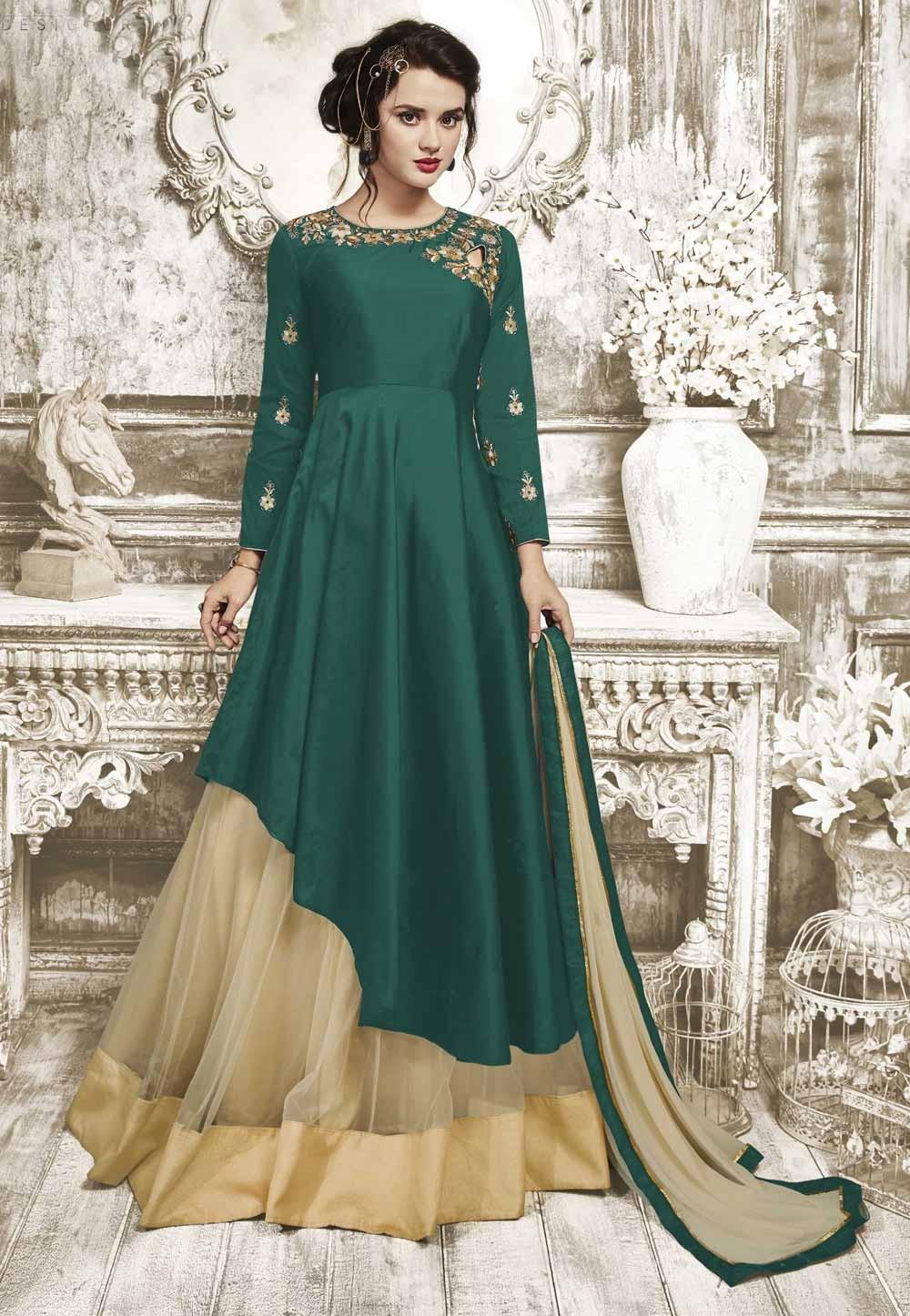 Anarkali Style Wonderful Salwar Kameez in Green Color Silk Fabric