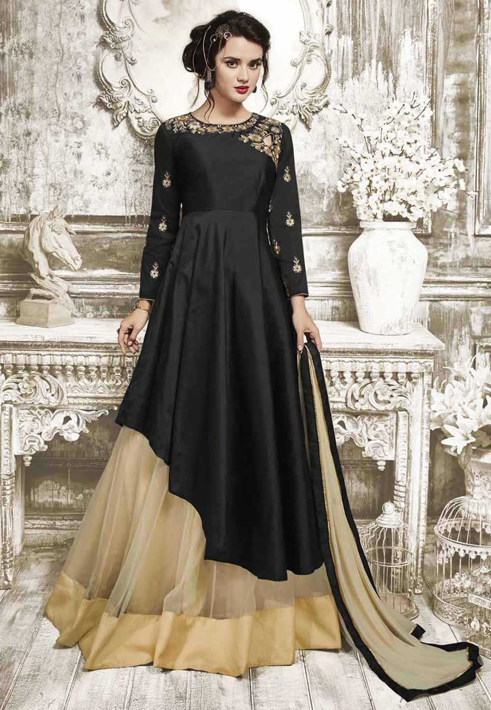 Black Color with Silk Fabric Astounding Unstitched Salwar Kameez