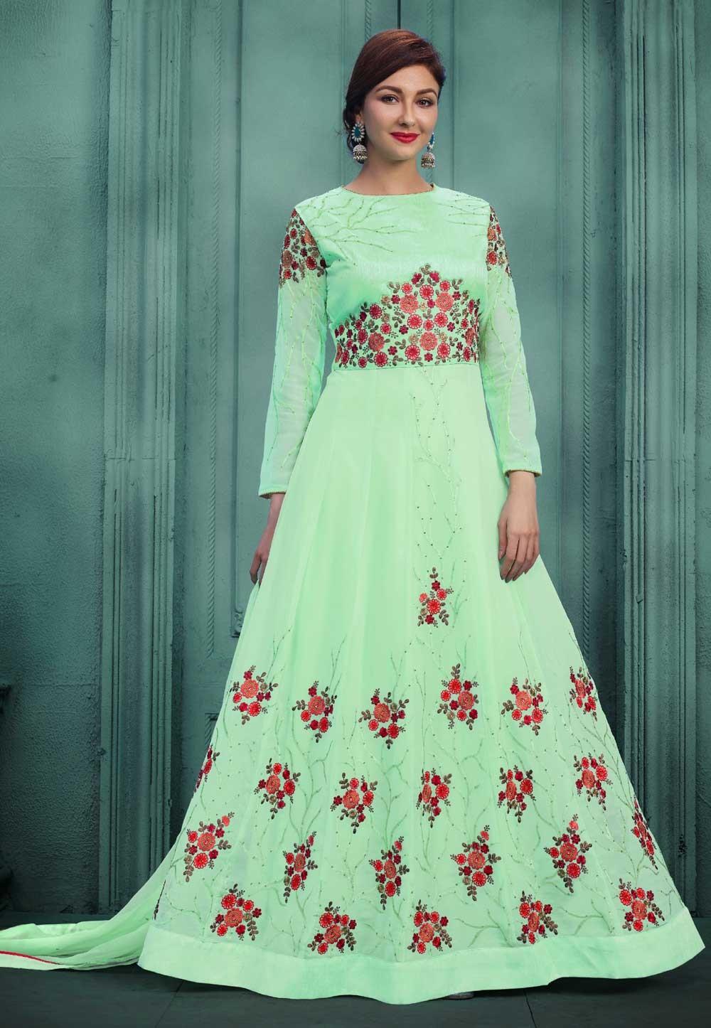 Attractive Looking Green Color Designer Salwar Kameez