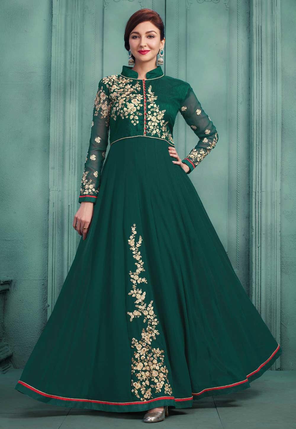Beautiful Green Color Party Wear Salwar Kameez