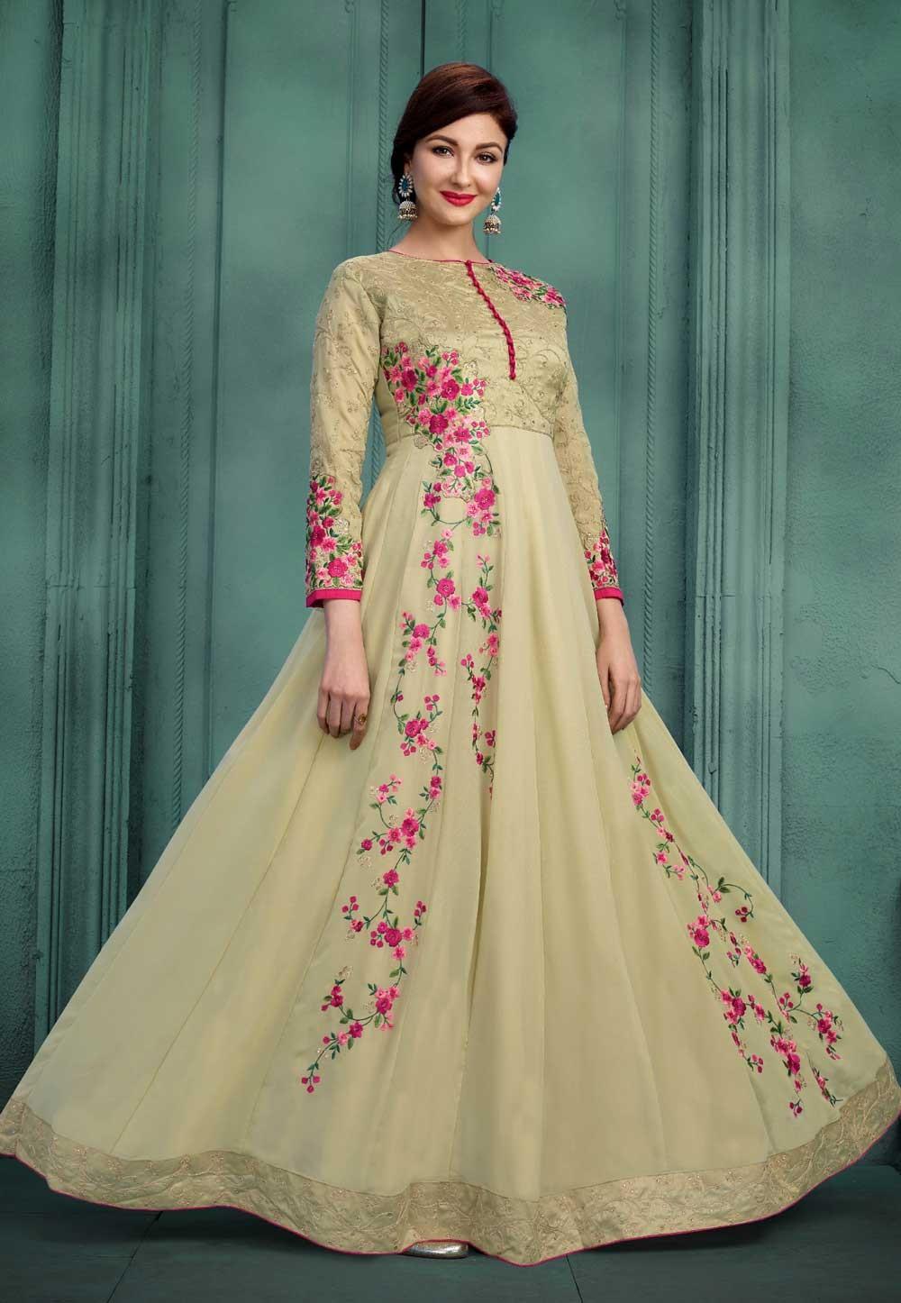 Astounding Beige Color Bollywood Salwar Kameez