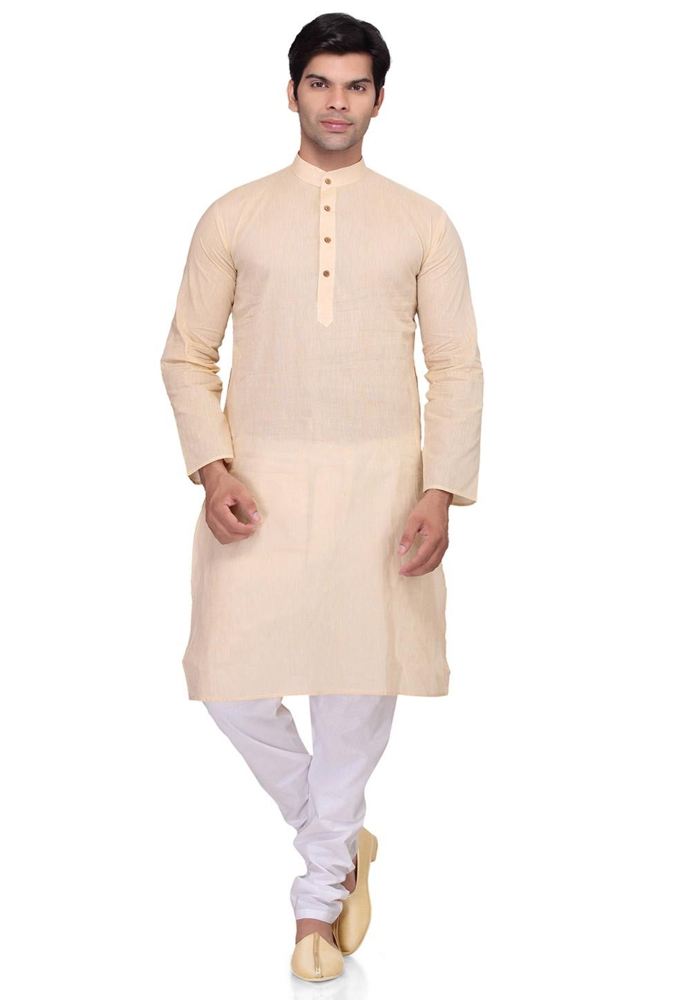 Captivating Beige Color Men's Wear Kurta Pyjama.