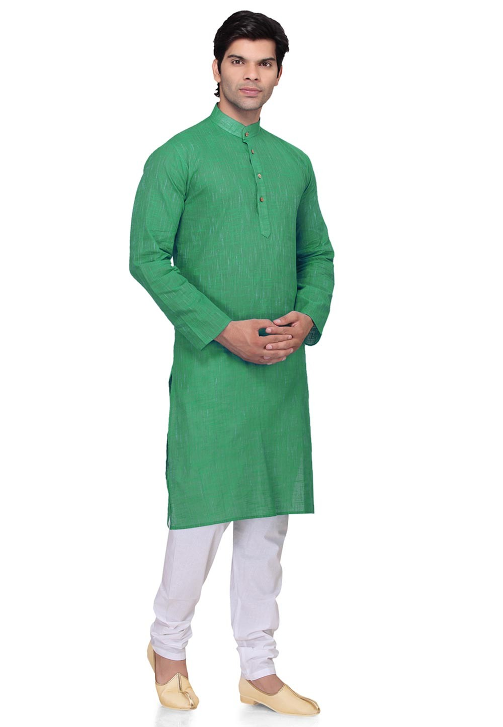 Green Color Cotton Kurta Pyjama
