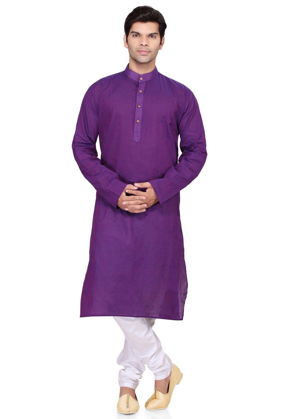 Purple Color Cotton Kurta Pyjama