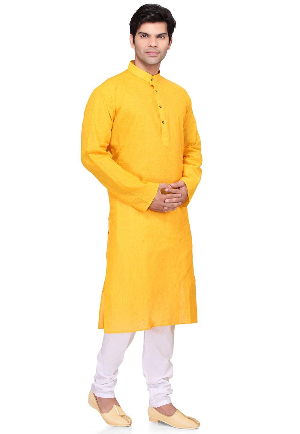 Yellow Color Cotton Kurta Pyjama