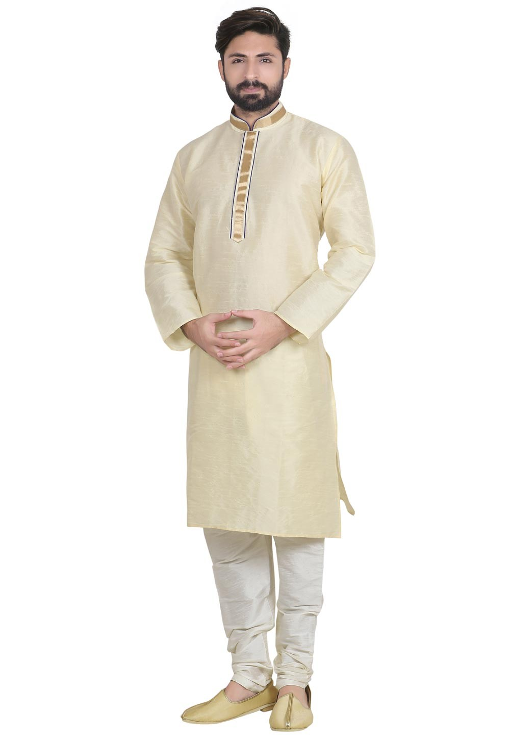 Exquisite Cream Color Dupion Silk Readymade Kurta