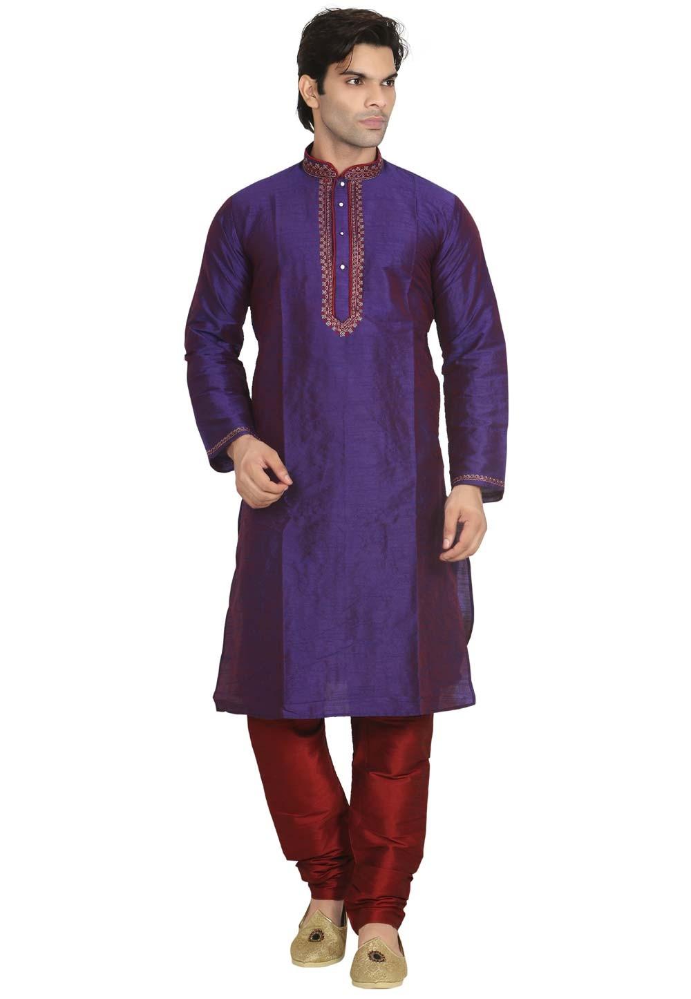 Royal Blue Color Designer Kurta Pajama.