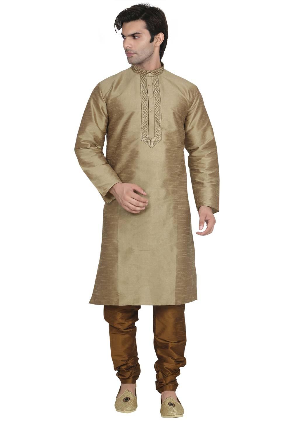 Brown Color Party Wear Kurta Pajama