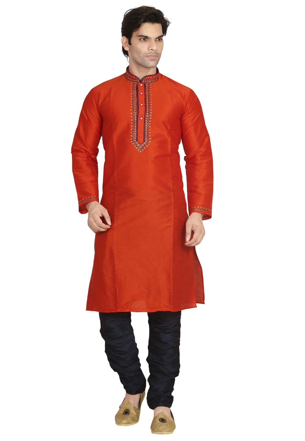 Exquisite Red Color Dupion Silk Men's Readymade Kurta