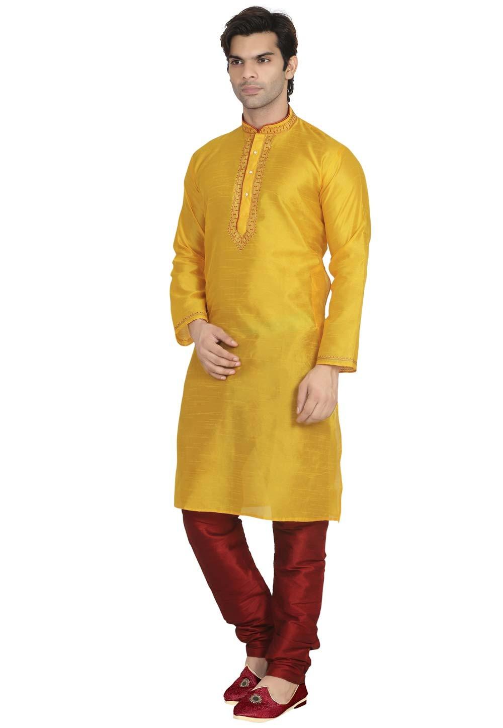 Men's Exquisite Yellow Color Dupion Silk Readymade Kurta