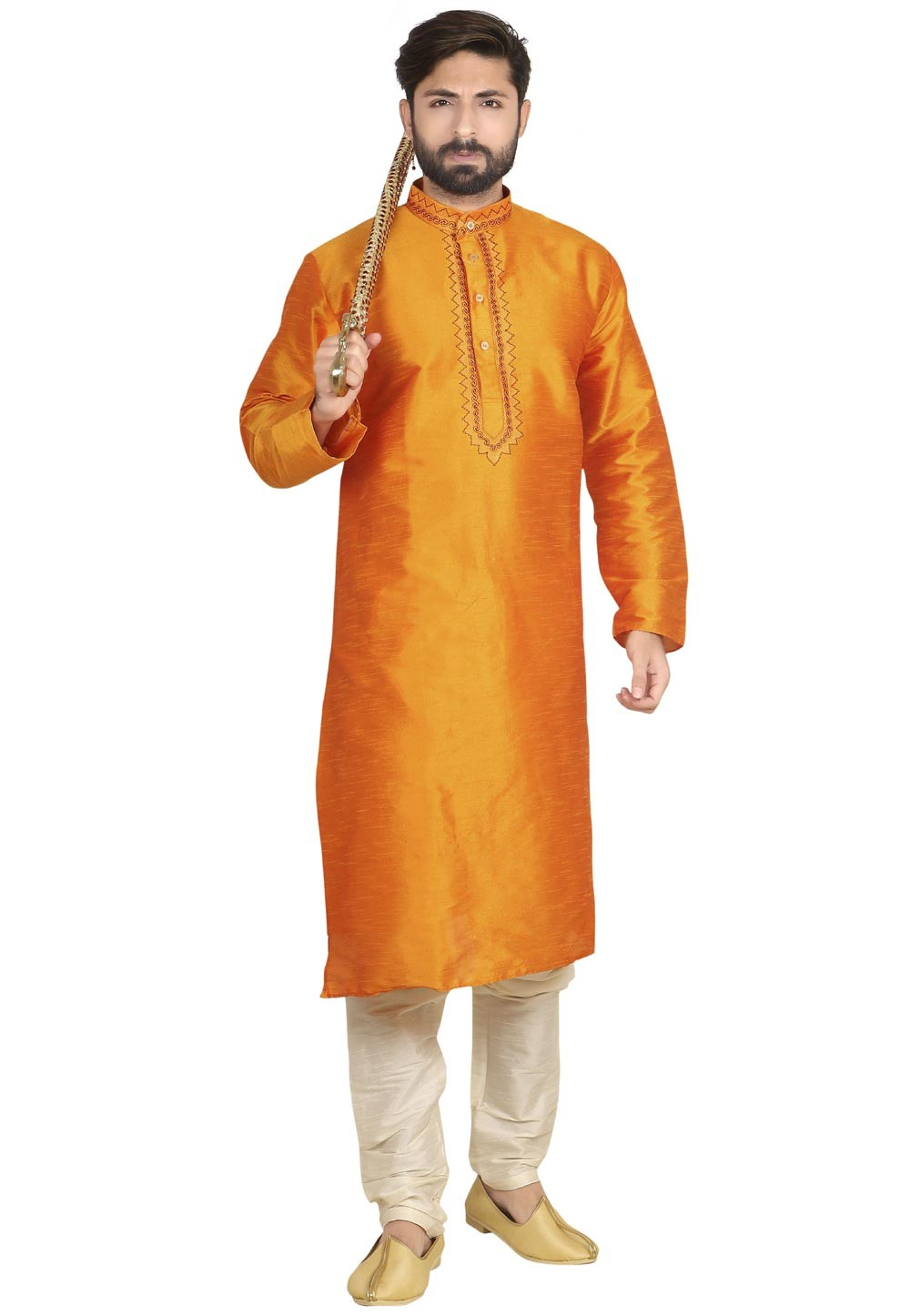 Attractive Orange Color Readymade Kurta Pyjama.