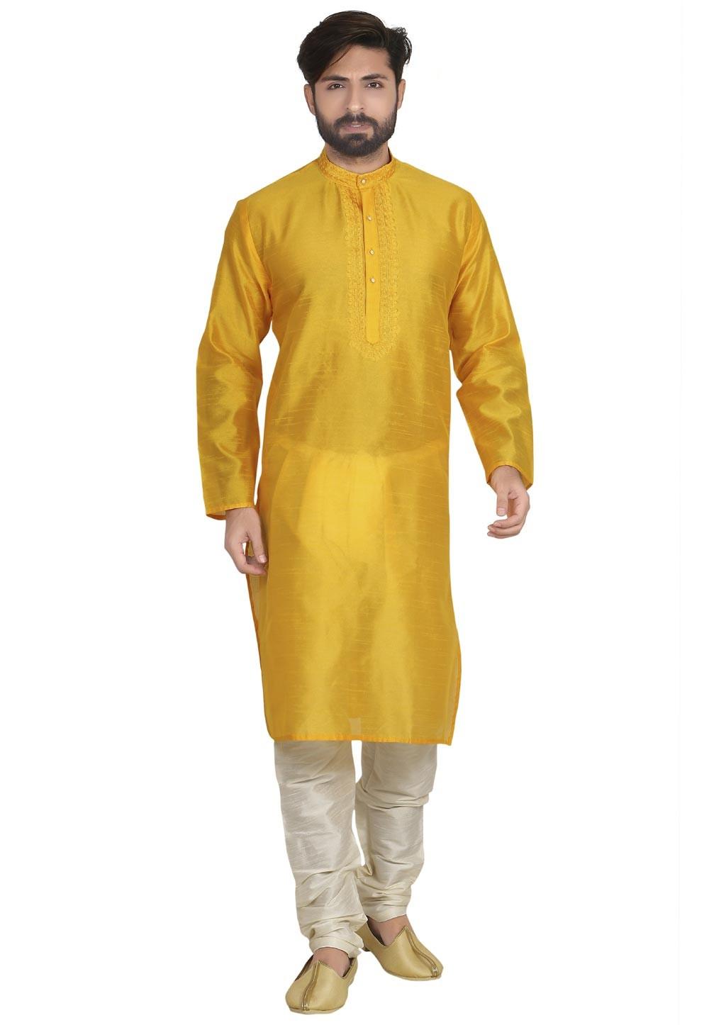 Yellow Color Designer Kurta Pajama