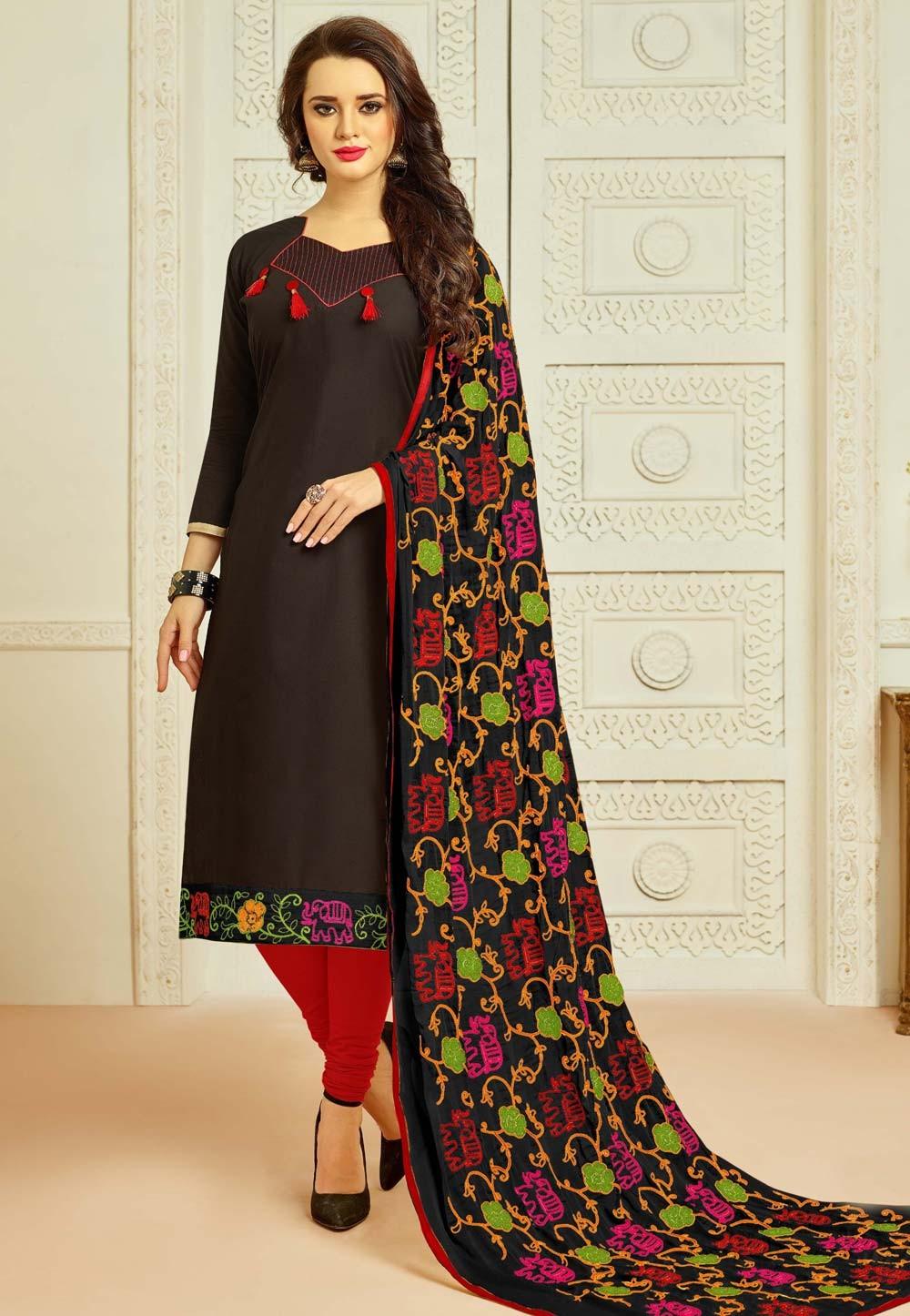 Black Color Incredible Unstitched Salwar Kameez