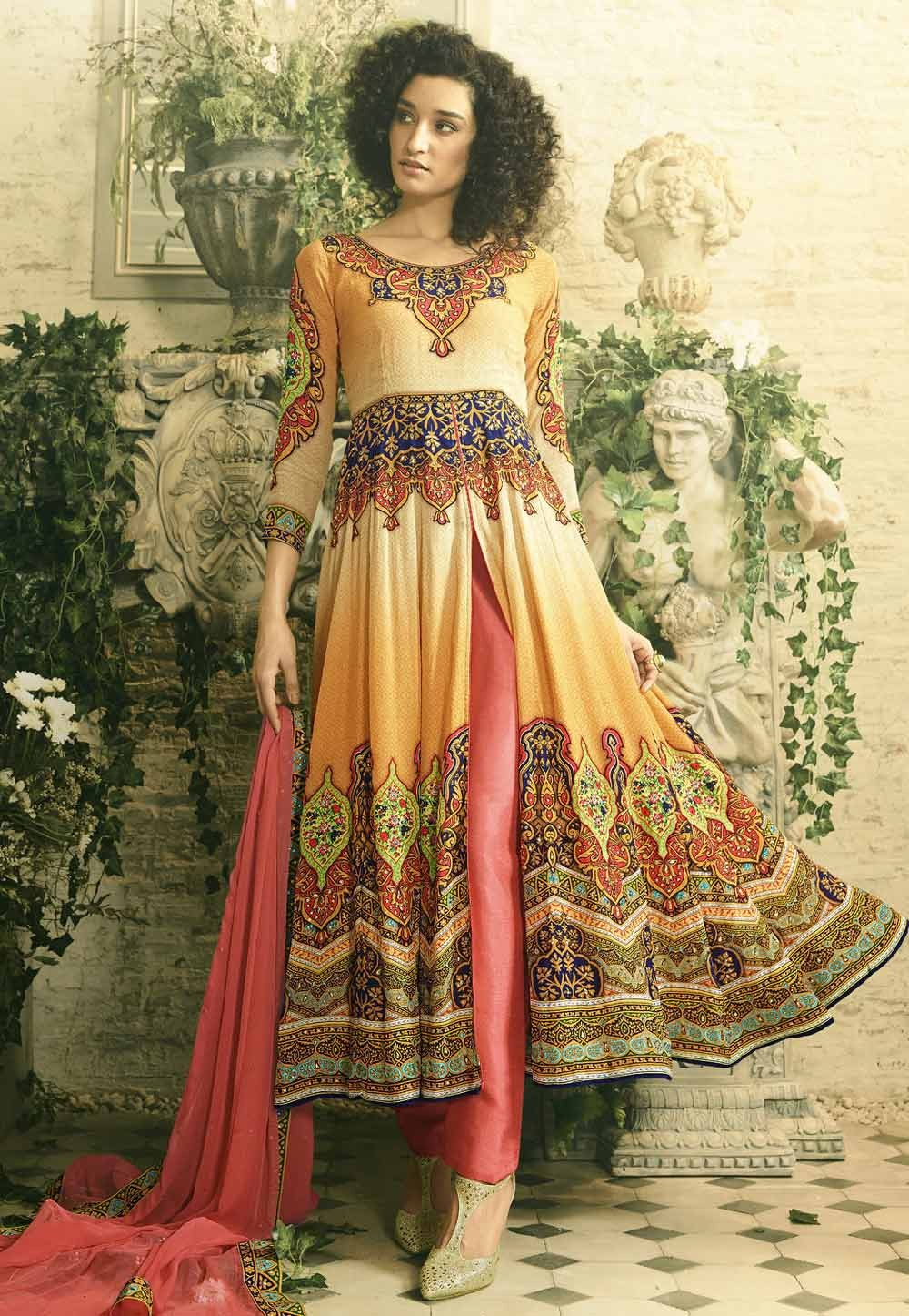 Yellow Color Designer Salwar Kameez in Anarkali Style