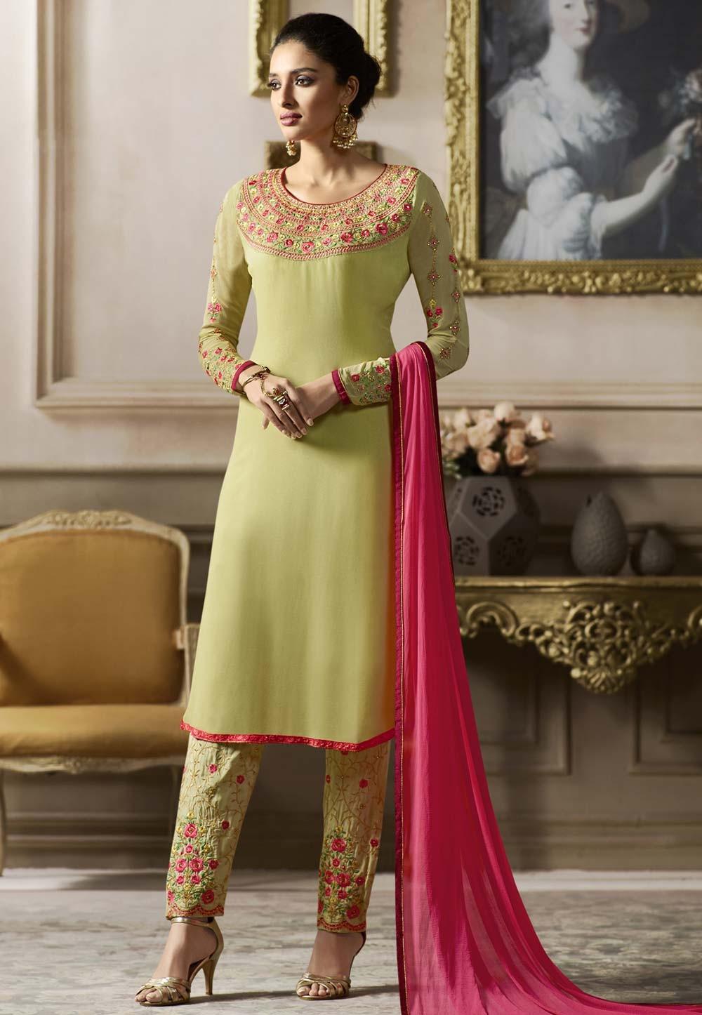 Attractive Looking Yellow Color Designer Salwar Kameez