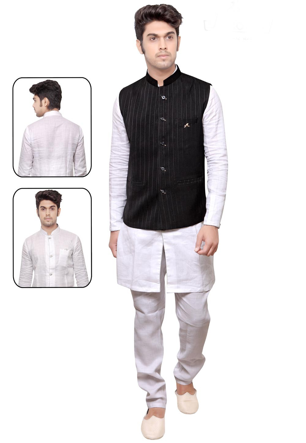 Exquisite White,Black Color Readymade Kurta Pyjama With Jacket.