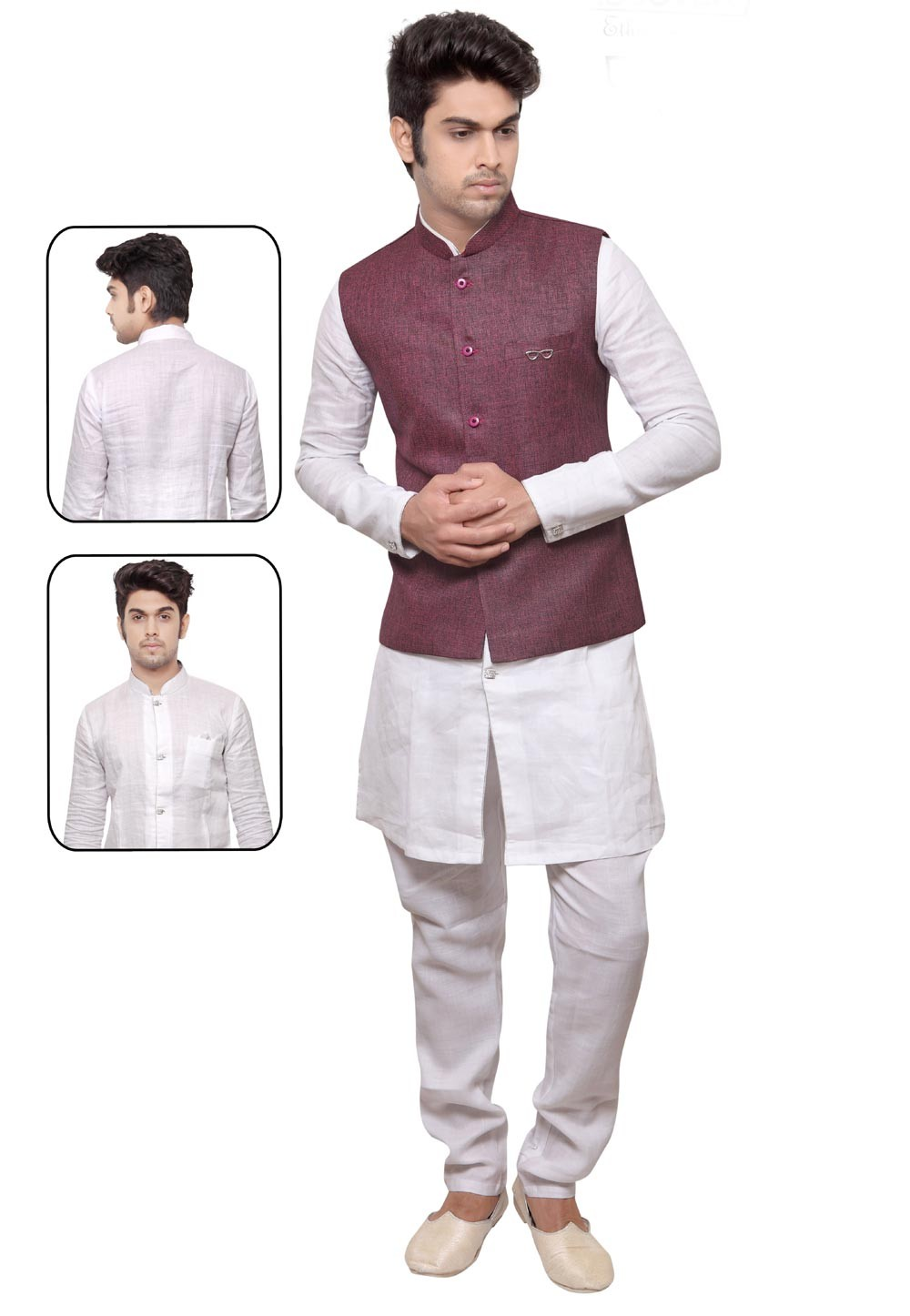 Exquisite White,Wine Color Readymade Kurta Pyjama With Jacket.