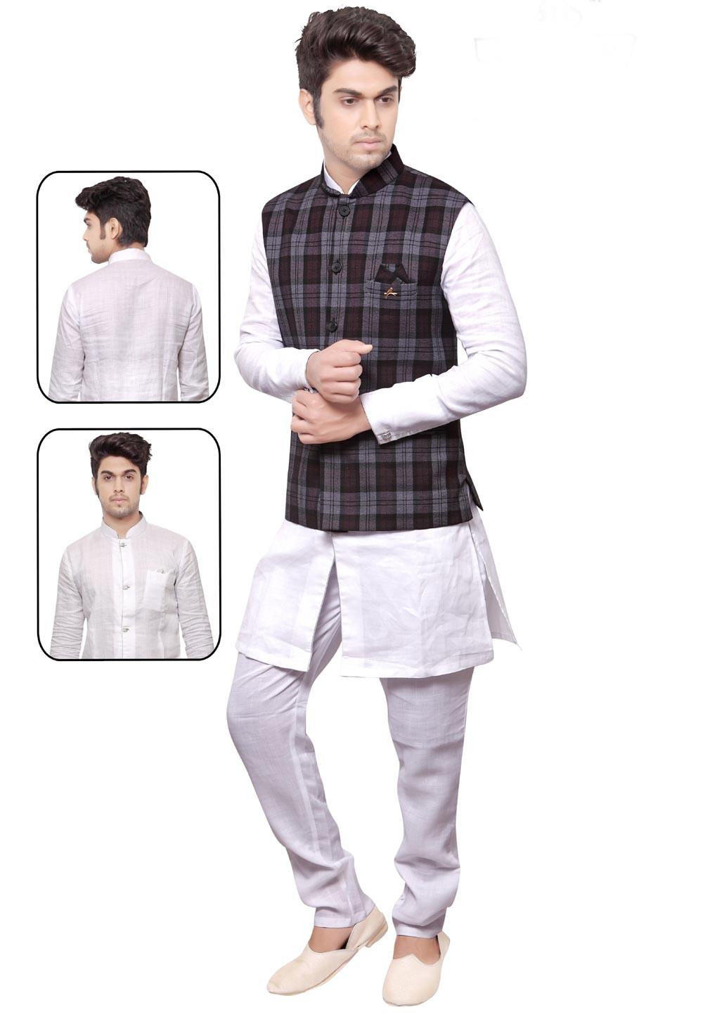 Men's Exquisite White,Grey Color Readymade Kurta Pajama.