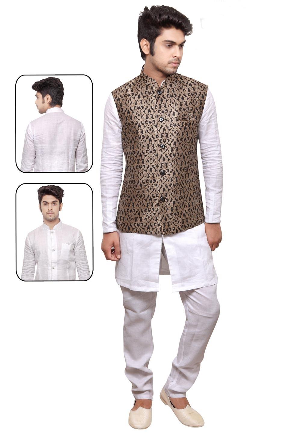 White,Golden Color Designer Kurta Pyjama.