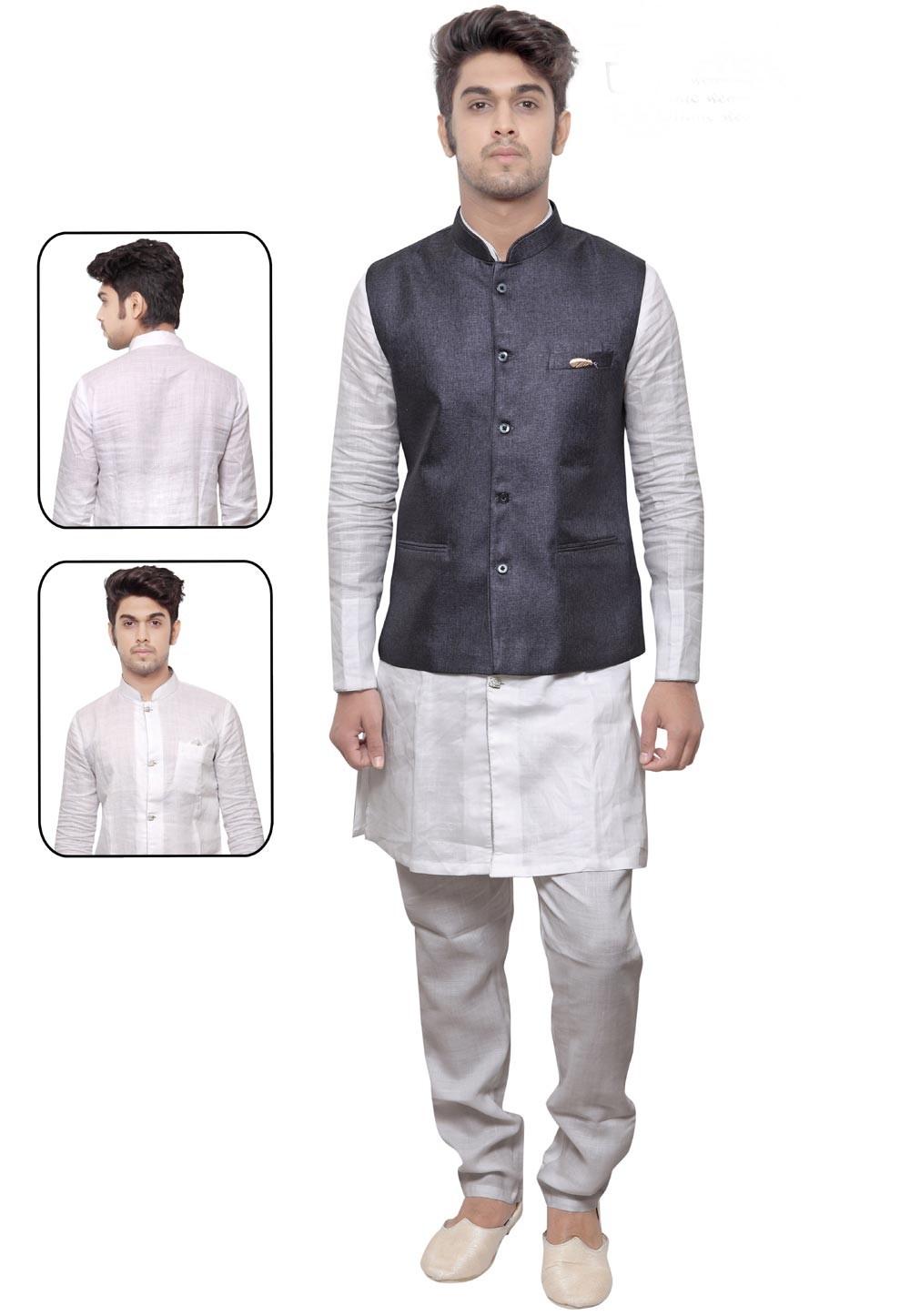 Men's Exquisite White,Blue Color Linen,Cotton Readymade Kurta Pajama.