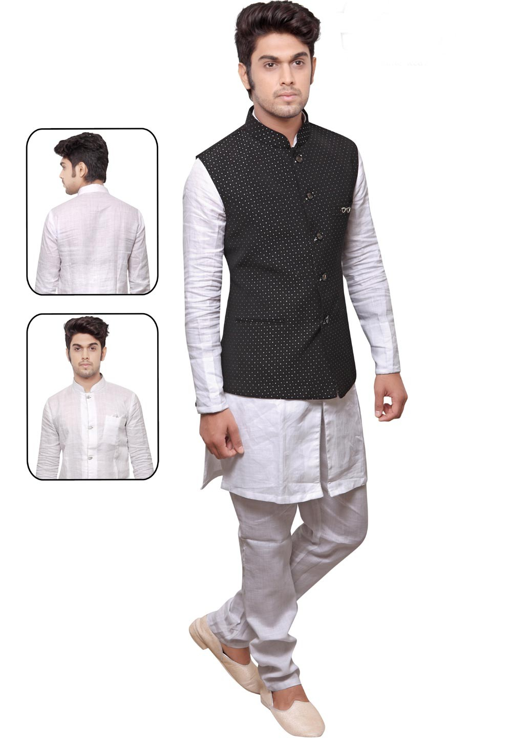 White,Black Color Readymade Kurta Pyjama With Jacket.