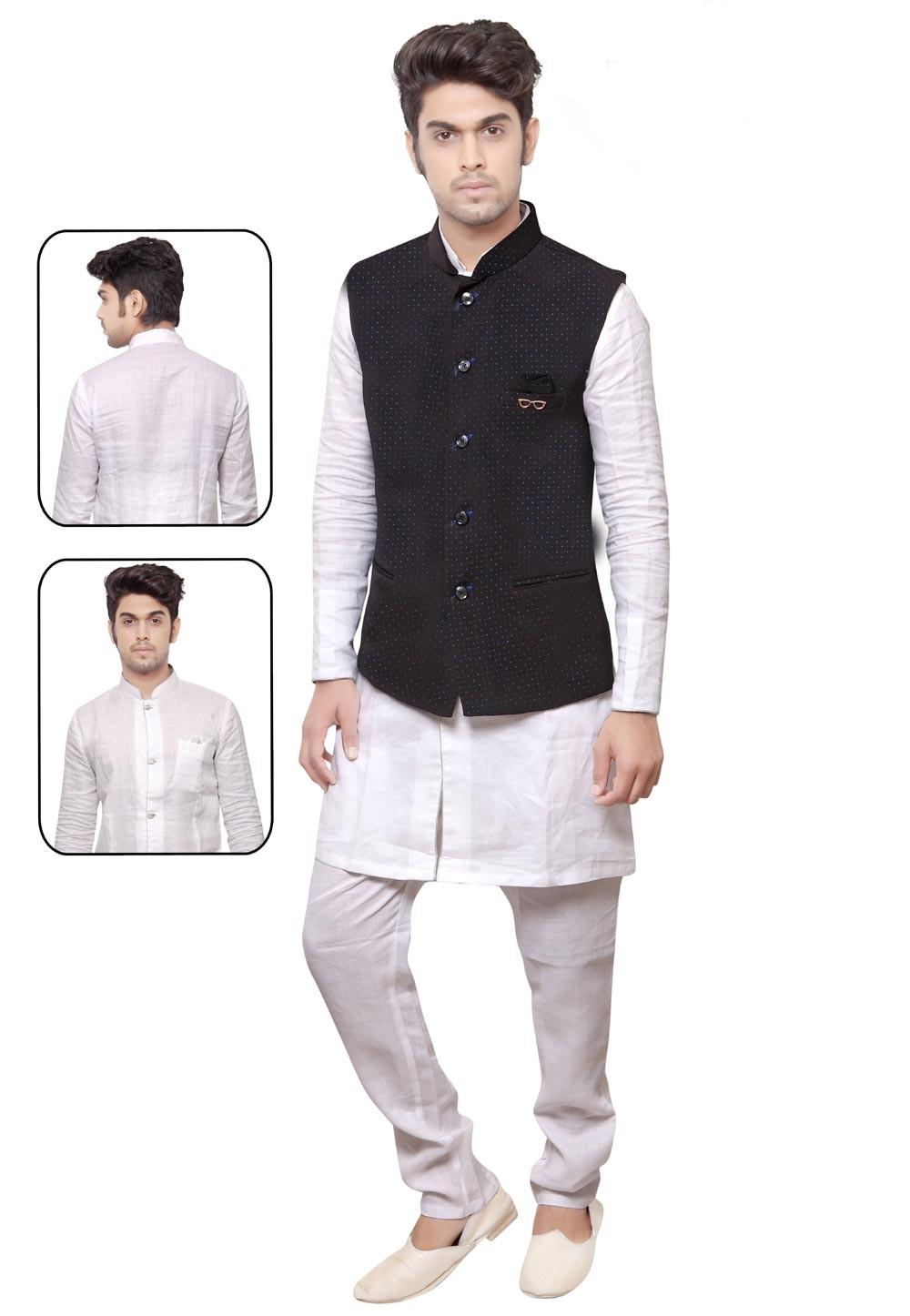 Exquisite White,Black Color Men's Readymade Kurta Pyjama.