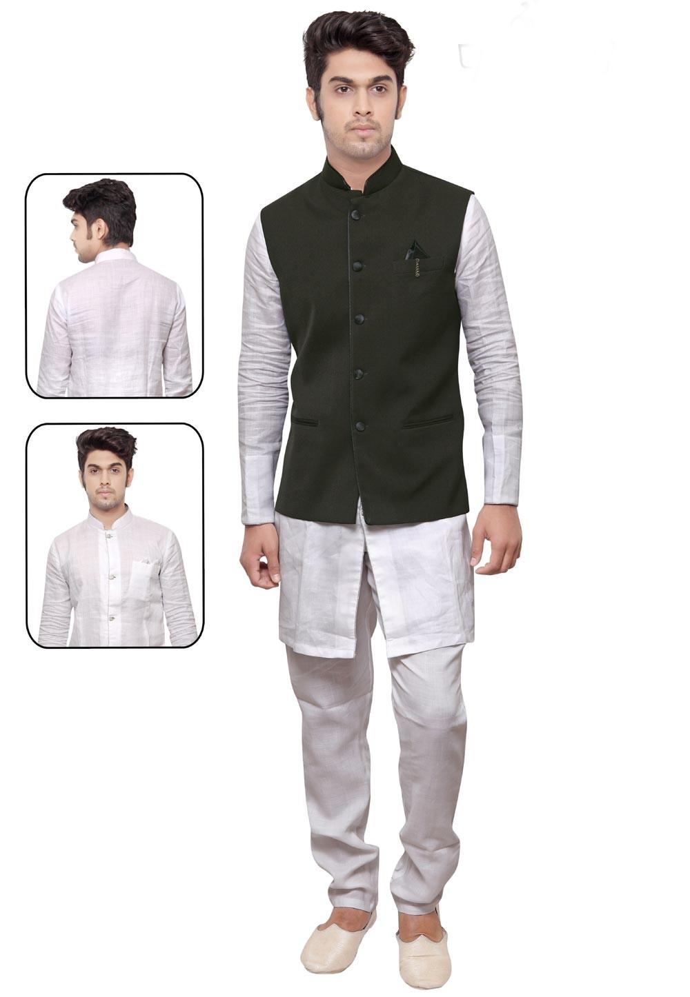 White,Green Color Linen,Cotton Kurta Pajama With Jacket.