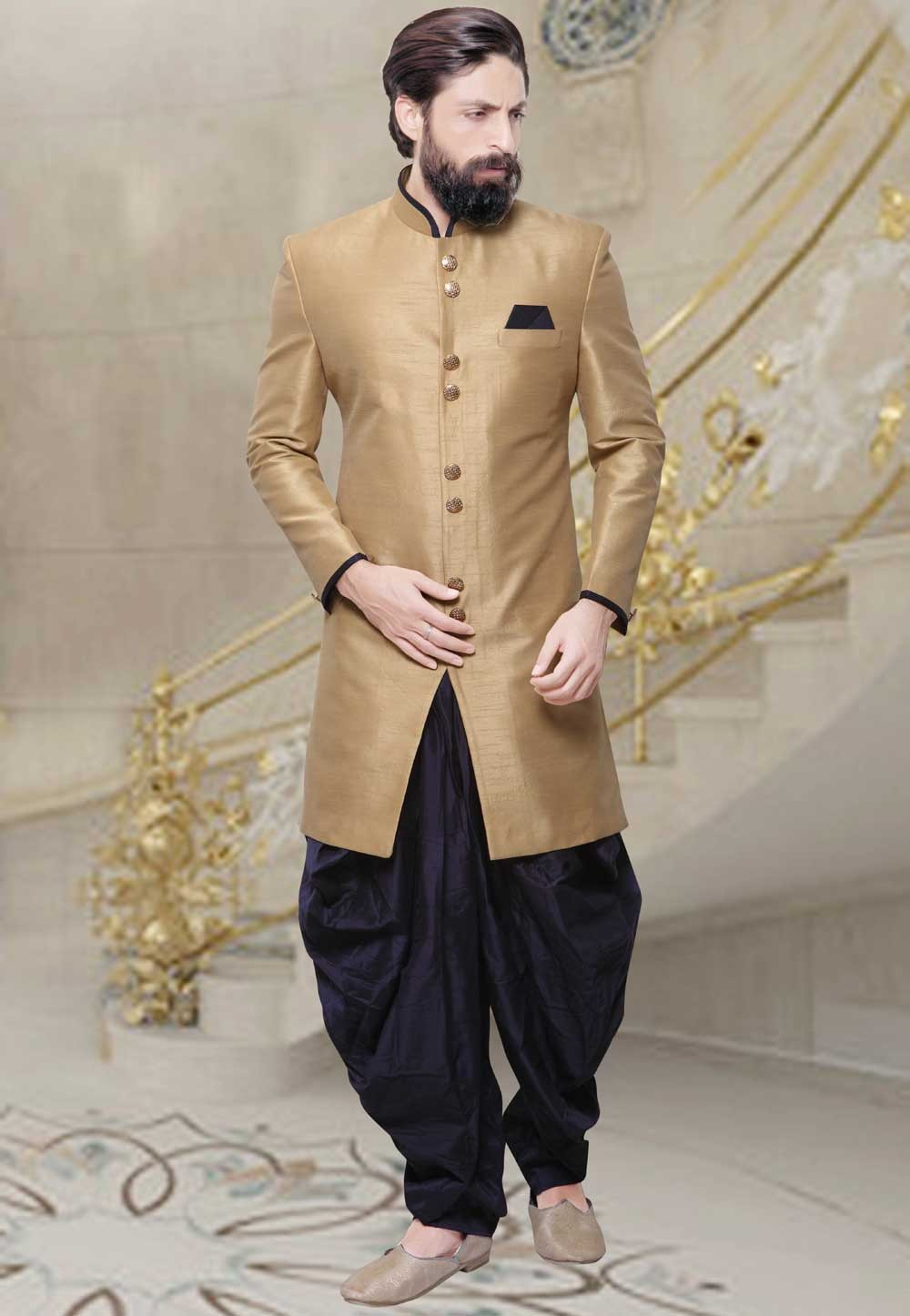 Beige Color Silk Fabric Men's Indo Western