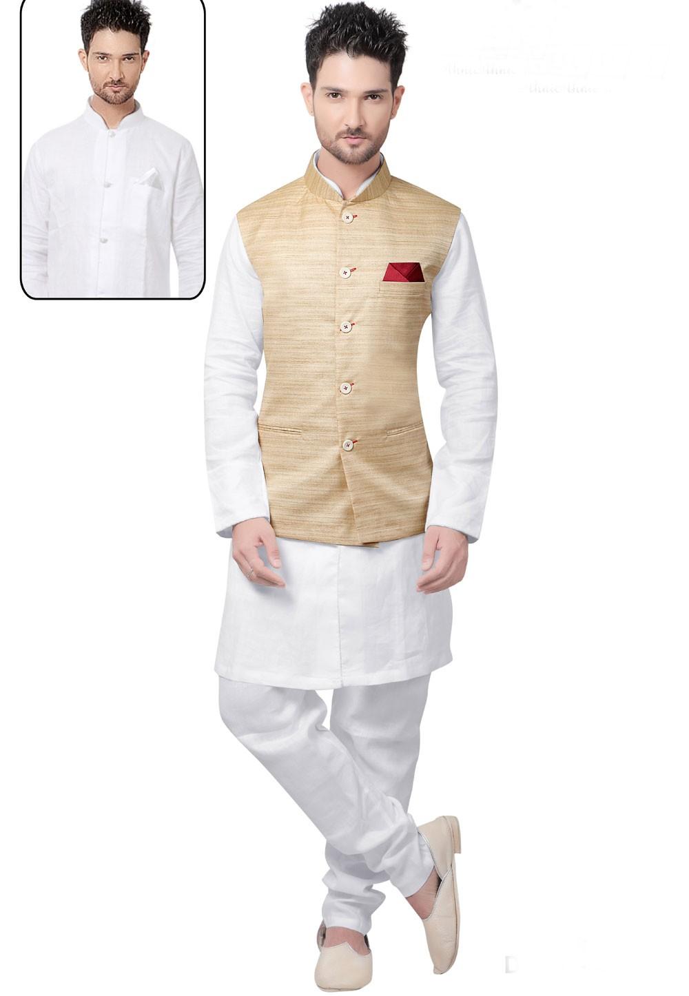 Men's Linen White,Cream Color Readymade Kurta Pajama.