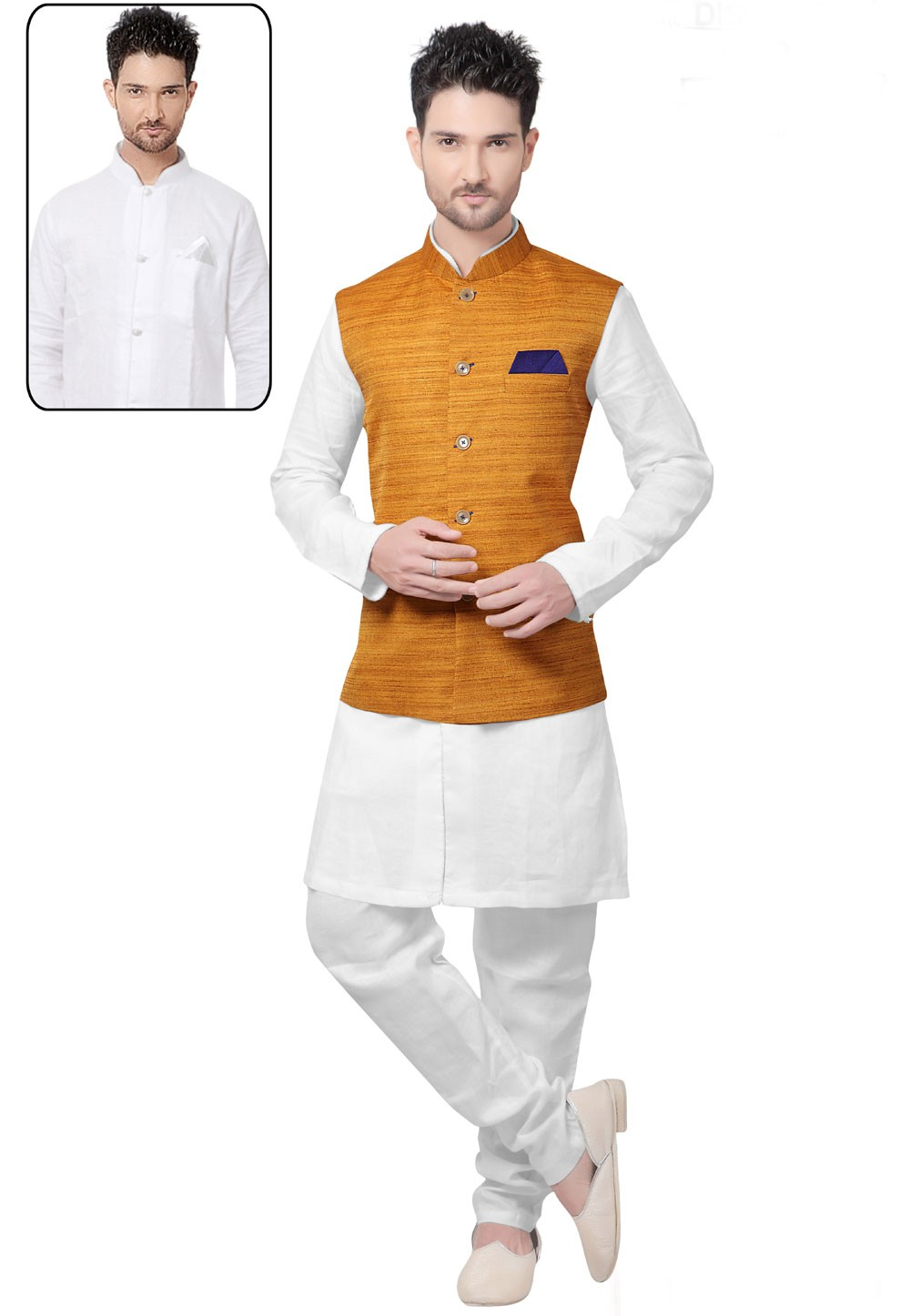 White,Yellow Color Designer Kurta Pajama With Jacket.