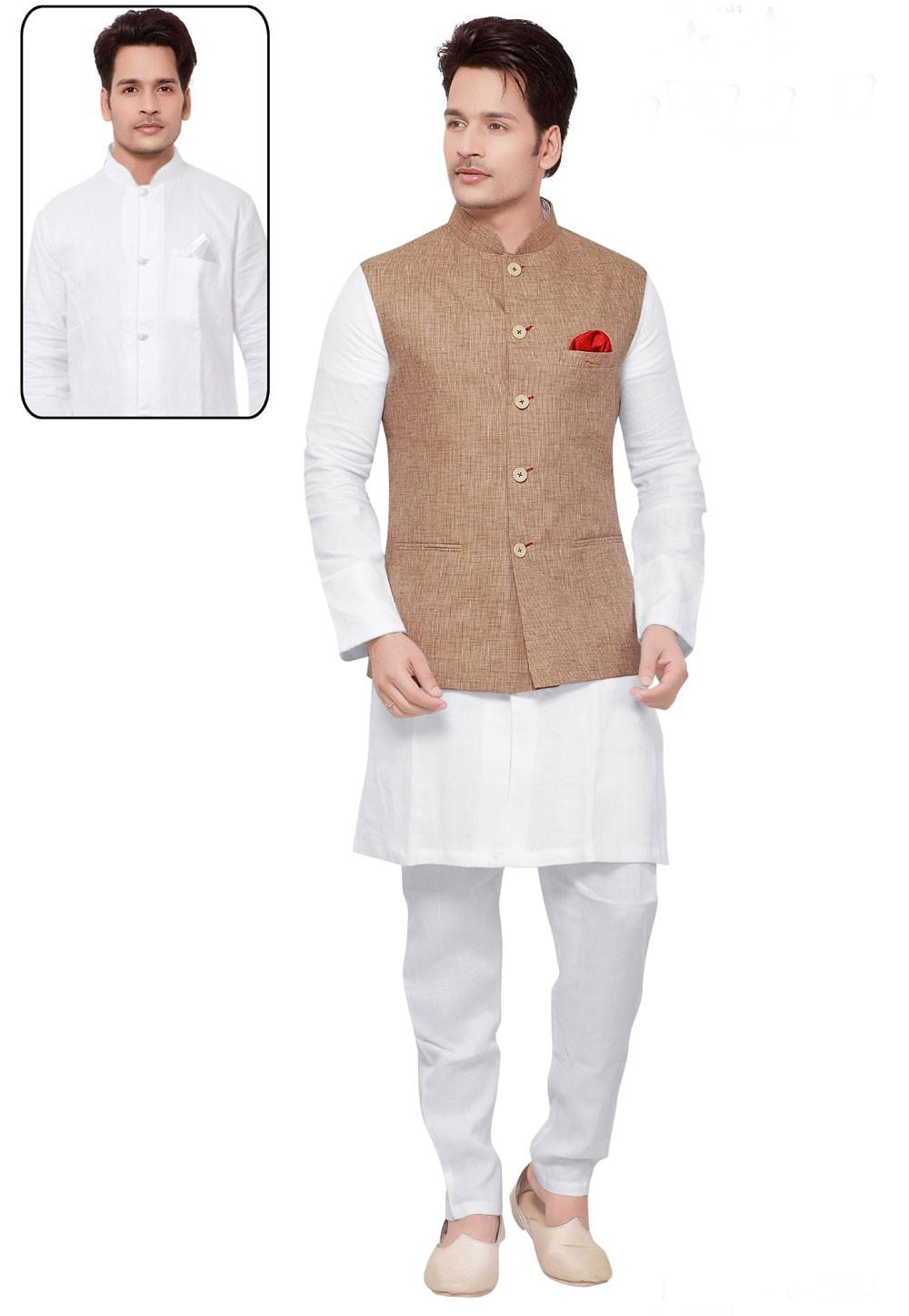 White,Beige Color Traditional Kurta Pajama.