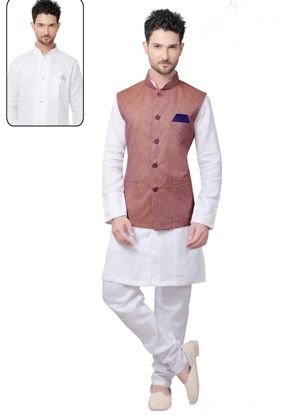 Exquisite Men's White,Peach Color Readymade Kurta Pyjama With Jacket.