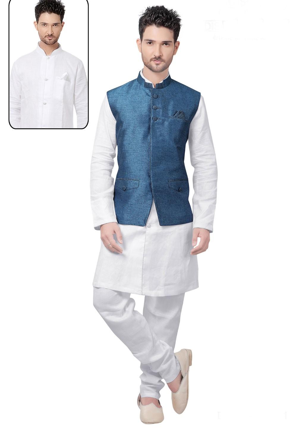 White,Blue Color Linen Kurta Pajama With Jacket.