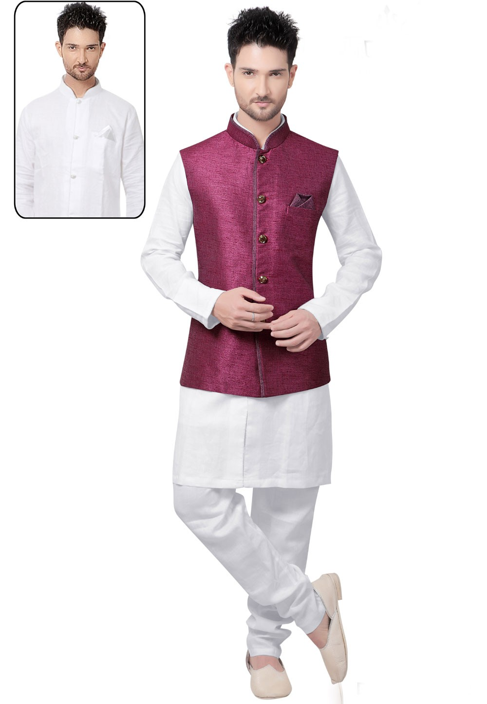 Men's Linen,Jute White,Purple Color Readymade Kurta Pyjama With Jacket.