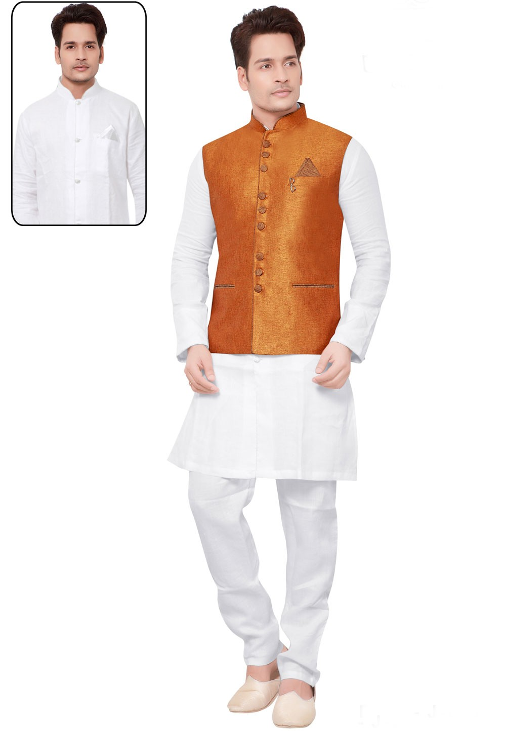 White,Orange Color Designer Kurta Pajama.
