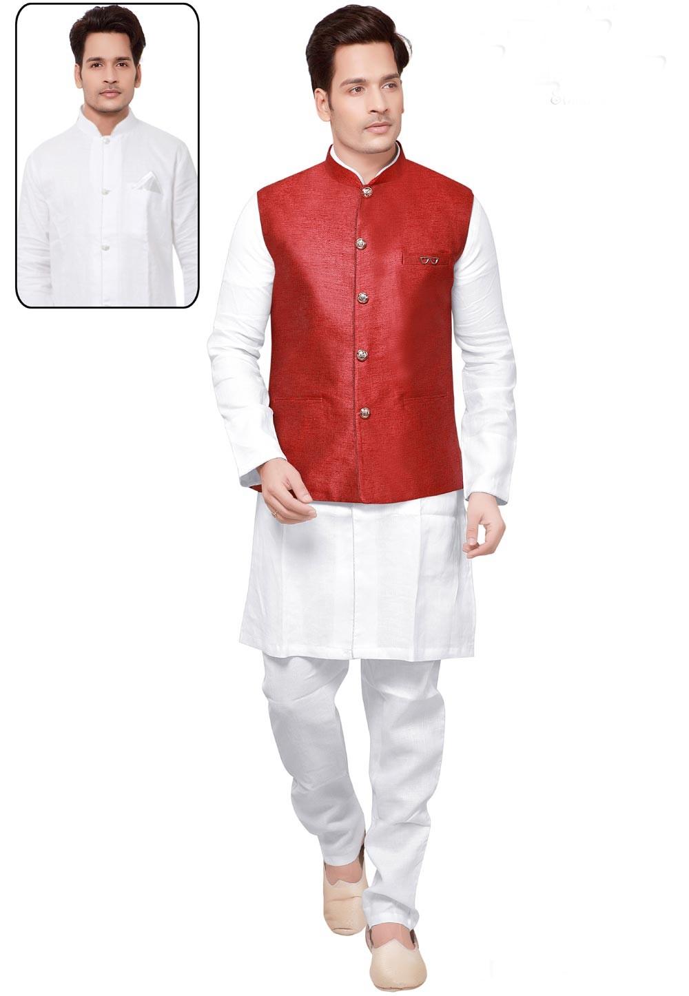 White,Maroon Color Readymade Kurta Pajama With Jacket.
