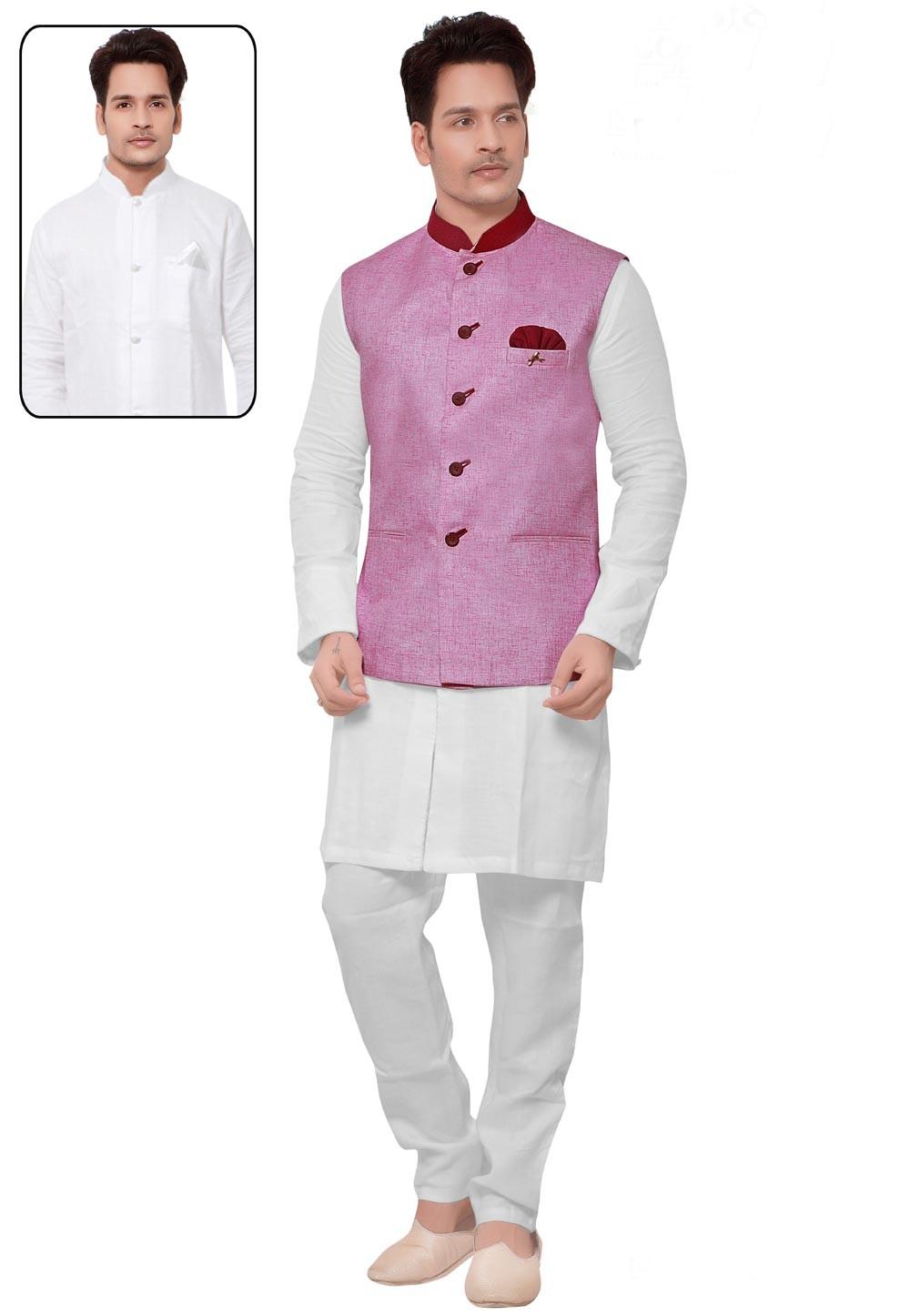 White,Pink Color Cotton Readymade Kurta Pajama.